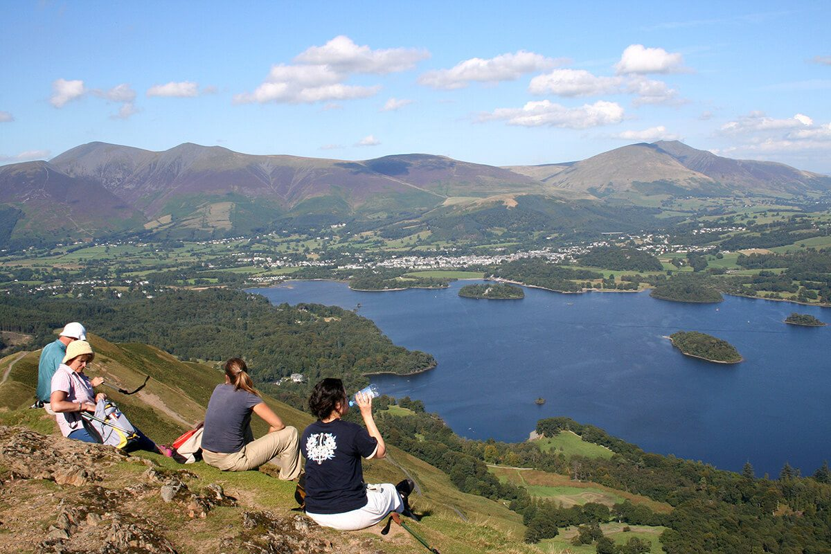 Enjoying lunch on the top of Catbells