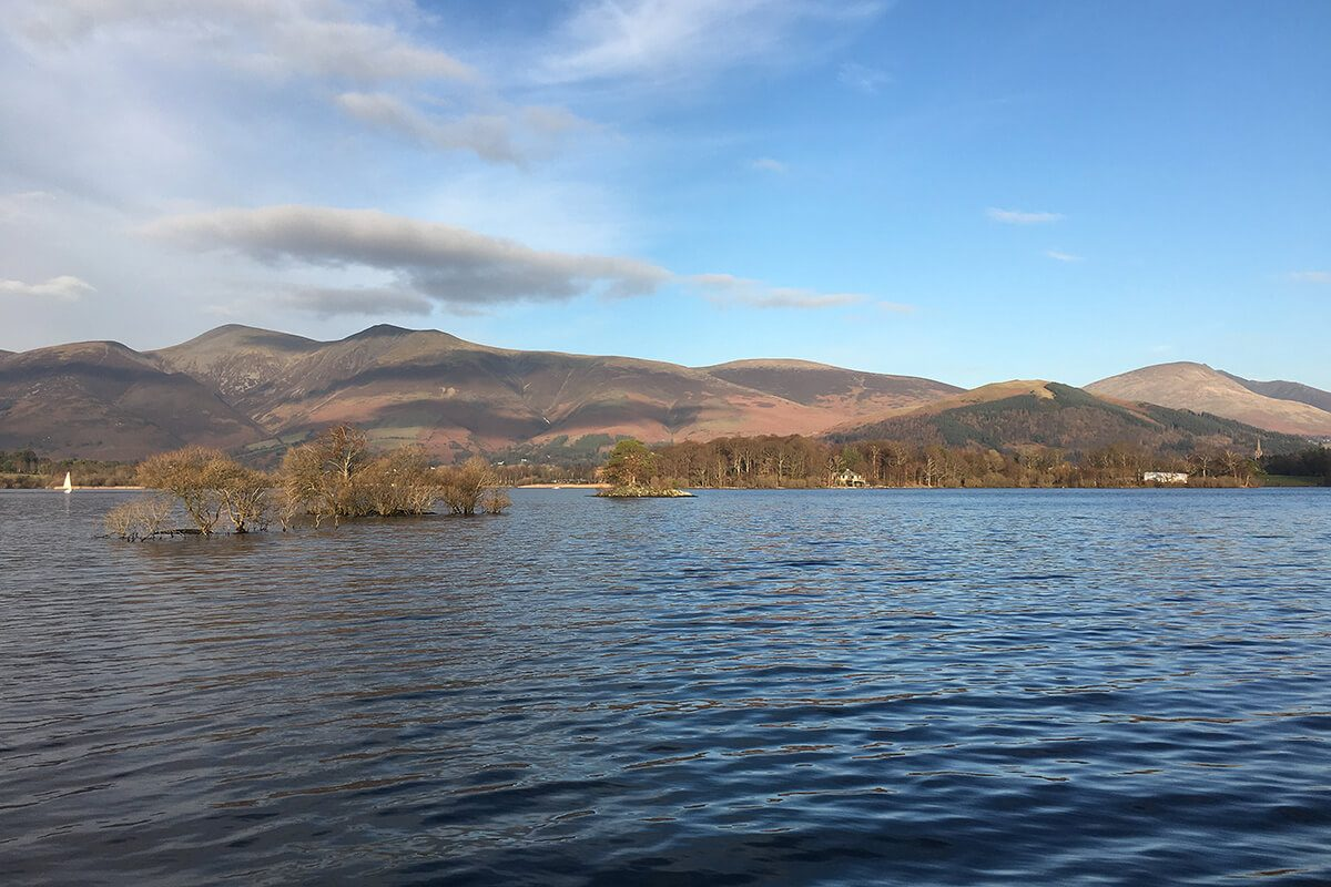 View from Lingholm Jetty of Skiddaw and Latrigg